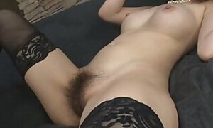 Hairy pussy babe in stockings gets drilled deep