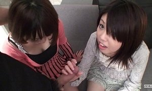 Subtitled Uncensored POV Japanese CFNM threesome blowjob in Full HD xVideos