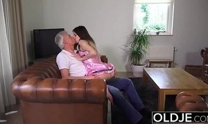 Old and Young Porn - Babysitter pussy fucked by old man and swallows cum xVideos