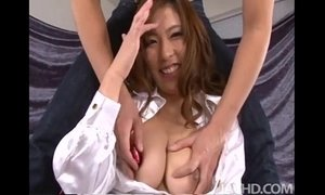 Big titty babe Ami Kurosawa has her perfect tits squeezed and played with xVideos