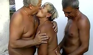 Time worn granny is getting finger fucked in filthy MMF threesome AnySex