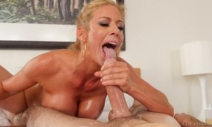 Horny oiled up babe with big boobs Alexis Fawx is having dirty sex with two dudes AnySex