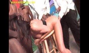 Brunette Shared By Group of Blacks xVideos