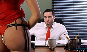 Busty MILF blonde shows up in an office with a surprise