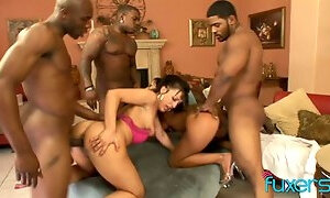 Busty bitches go wild while eating wet pussies and working on firm BBCs