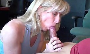 Mature Blonde Sucks and Swallows Her Subscriber!