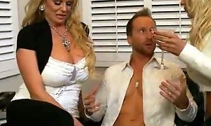 Two busty blonde nymphos try to make dude horny for a hot fuck AnySex