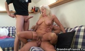 Hot 3some party with blonde grandma xVideos