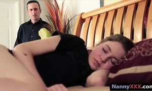 Cute brunette babysitter drilled hard in many positions