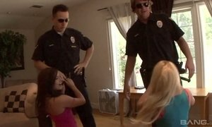 Arrested chicks Ashli Orion and her nasty GF give blowjob to policemen