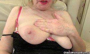 British granny fucks herself