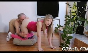 Hot young playgirl banged by old guy