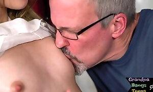 Tattooed petite 18yo fucked by grandpa