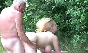 Huge titted sturdy slut fucking horny grandpa