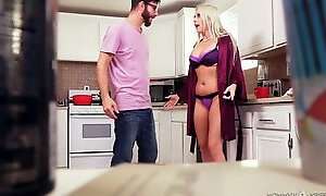 Stunning light haired Christie Stevens has a chance to give BJ and titjob