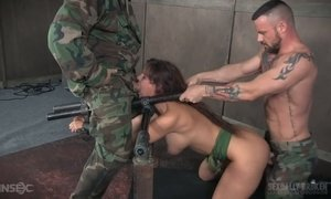 Two sex-hungry soldiers fucks restrained busty milf Syren De Mer AnySex