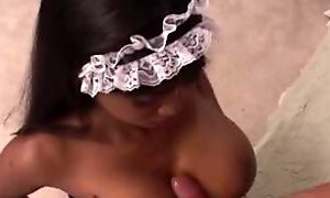 Pretty french ebony maid is getting balled by her master