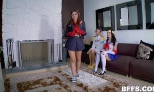 Three teen girlfriends dressed in mascara suits are sharing one fucker AnalDin