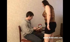 Mature BBW mother and her step son