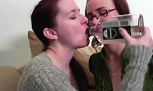 Tipsy naughty lesbians fuck at work in amateur lesbo threesome