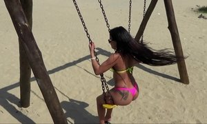 Playful babe swings outdoor at the beach Beeg