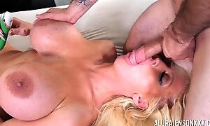 Busty blonde MILF slut Alura Jenson deep throats a cock and swallows
