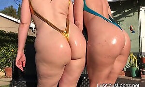 Darkhaired PAWGs with big oiled up bums posing outdoors and in shower