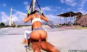Big bottomed Colombian brunette Franceska Jaimes is fucked by her fitness instructor