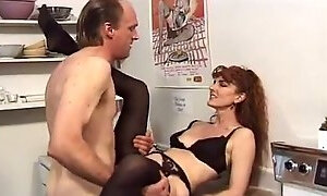 Curly amateur redhead gets her soaking cunt fucked by ugly man