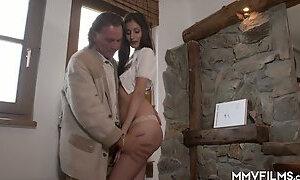 German village slut Coco Kiss gets fucked in the alpine hut by older man