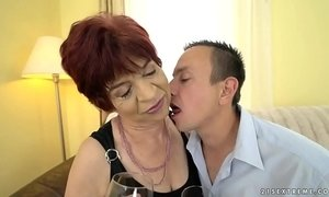 Granny enjoys to ride on a young dick xVideos
