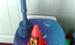 My horny and playful girlfriend rides plunger and a cone